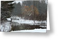 Snow And Stream Greeting Card