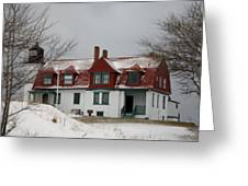 Snow At Point Betsie Greeting Card