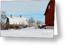 Snow Barns Greeting Card