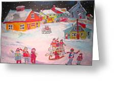 Snow Battle Winter Memories Greeting Card by Michael Litvack