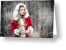 Snow Beauty In Red Greeting Card