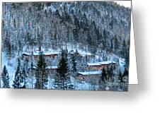 Snow Cabins Greeting Card