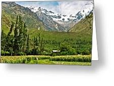 Snow-capped Andes Mountains With Snowline Above 17000 Feet-peru Greeting Card