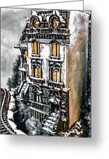 Snow Capped Brownstone Greeting Card by Jill Balsam