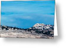Snow-capped Horsetooth Rock Greeting Card by Harry Strharsky
