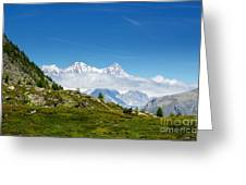Snow-capped Mountain And Cloud Greeting Card