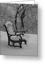 Snow Covered Bench Greeting Card