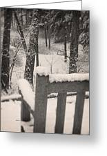 Snow Covered Benches Greeting Card