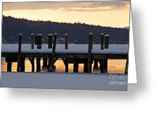 Snow Covered Docks Greeting Card