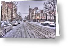 Snow Covered High Street And Cars In Morgantown Greeting Card