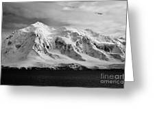 snow covered landscape of anvers island mountain range and neumayer channel Antarctica Greeting Card
