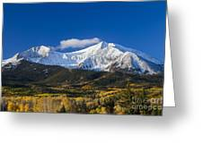 Snow Covered Mount Sopris With Golden Aspen Trees Greeting Card