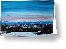 Snow Covered Munich Winter Panorama With Alps Greeting Card