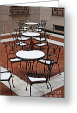Snow Covered Patio Chairs And Tables Greeting Card