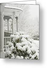 Snow Covered Porch Greeting Card