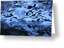Snow Covered River Rocks Greeting Card