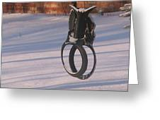Snow Covered Rocking Horse Swing Greeting Card