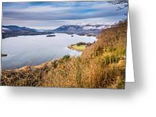 Snow Covered Skiddaw Above Derwent Water Greeting Card