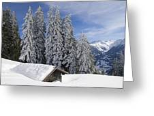 Snow Covered Trees And Mountains In Beautiful Winter Landscape Greeting Card