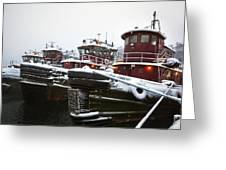 Snow Covered Tugboats Greeting Card by Eric Gendron
