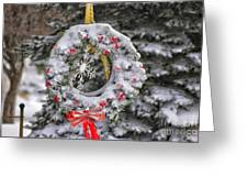 Snow Covered Wreath Greeting Card