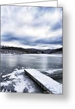 Snow Dock Frozen Lake Greeting Card
