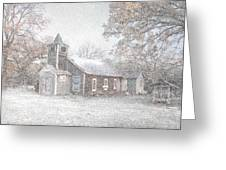 Snow Fall Old Church Greeting Card by Cindy Rubin