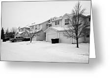 snow falling in residential street during winter Saskatoon Saskatchewan Canada Greeting Card by Joe Fox