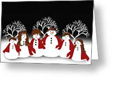 Snow Family 2 Square Greeting Card