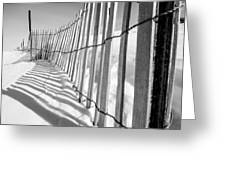 Snow Fence B/w Greeting Card