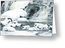 Snow Formations At Bottom Of Bond Falls Greeting Card