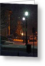 Snow In Downtown Grants Pass - 5th Street Greeting Card