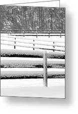 Snow In The Pasture Greeting Card
