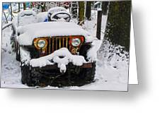 Snow Jeep Greeting Card