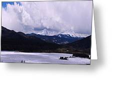 Snow Lake And Mountains Greeting Card by Maria Arango Diener