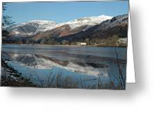 Snow Lake Reflections Greeting Card