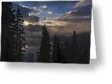 Snow Lake Sunset Greeting Card