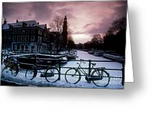 Snow On Canals. Amsterdam, Holland Greeting Card