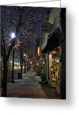 Snow On G Street 3 - Old Town Grants Pass Greeting Card