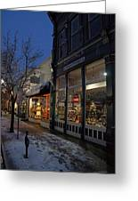 Snow On G Street - Old Town Grants Pass Greeting Card