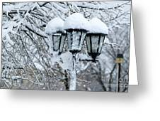 Snow On Lamps Greeting Card