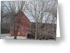 Snow On Red Barn Roof Greeting Card