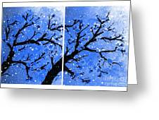 Snow On The Blue Cherry Blossom Tree Greeting Card