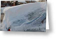Snow On The Car Greeting Card