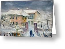 Snow On The Farmhouse Greeting Card