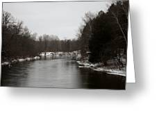 Snow On The Manistee River Greeting Card