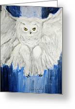 Snow Owl In Flight Greeting Card