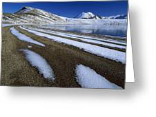 Snow Patterns Near Blue Lake Mt Greeting Card