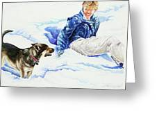 Snow Play Sadie And Andrew Greeting Card by Carolyn Coffey Wallace