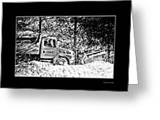 Snow Plow In Black And White Greeting Card